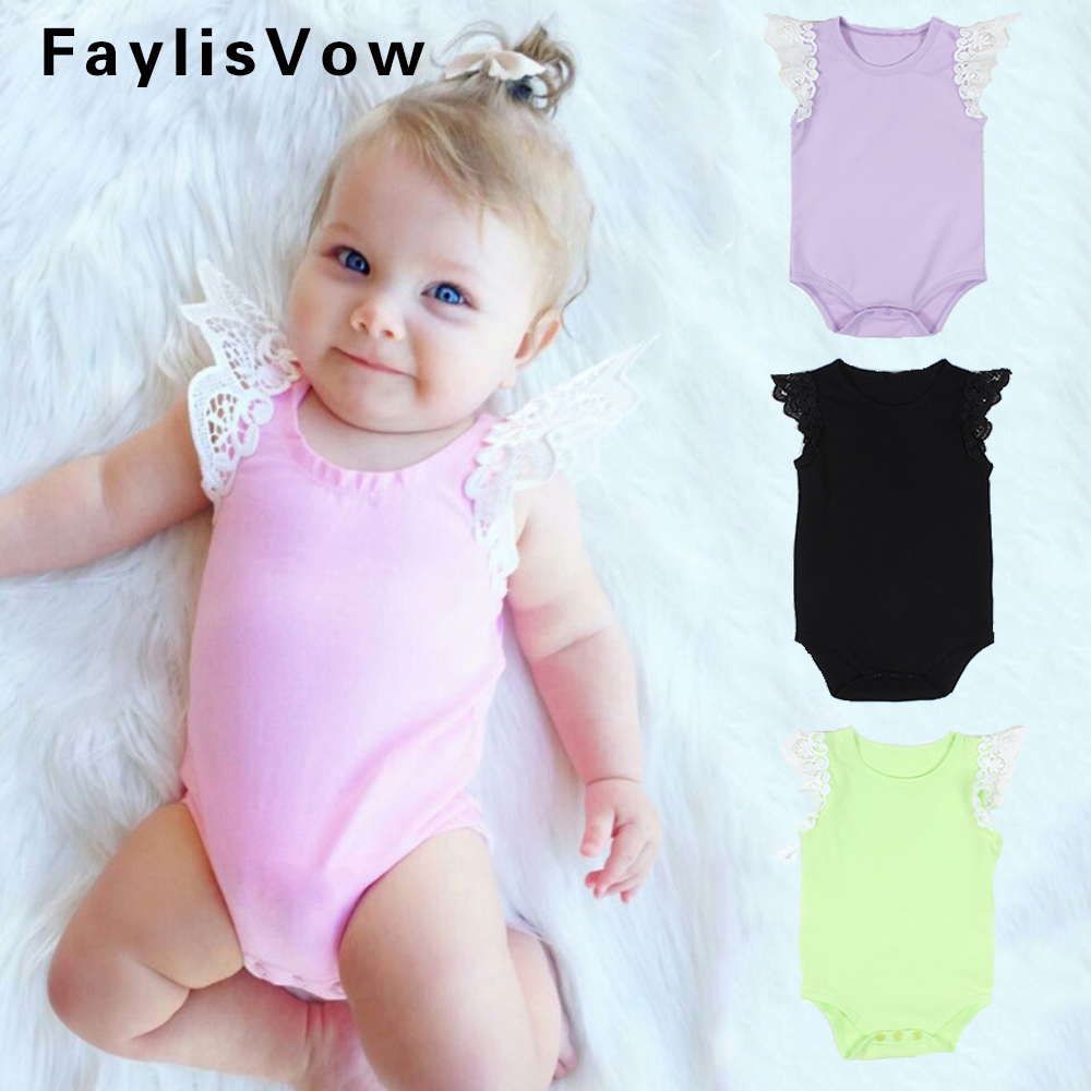 Clearance Baby Rompers Newborn Cotton Sleeveless Jumpsuit Toddler Lace Flying Sleeve Pajamas Infant Solid Outfit Romper Clothes