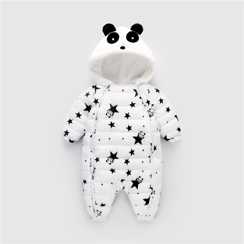 Image 4 - Waterproof Winter Warm Baby Boy Girl Bodysuits Flannel Liner Cotton Filler Newborn Baby Clothing Panda Modeling For 3 24 Months-in Rompers from Mother & Kids
