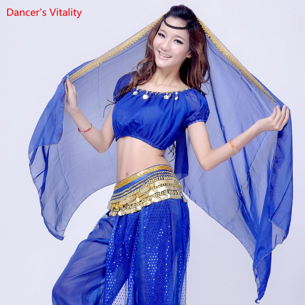 Chiffon Sari Dancewear India Belly Dancing Clothes Head Wrap Scarf Headpiece Bollywood Dance Costume Head Veils