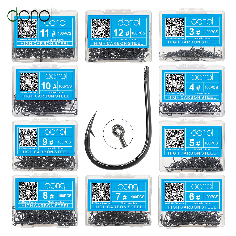 DONQL 100pcs Fishing Hooks Set Carbon Steel Single Circle Fishhook Fly Fishing Jip Barbed Carp Hooks Sea Tackle Accessories