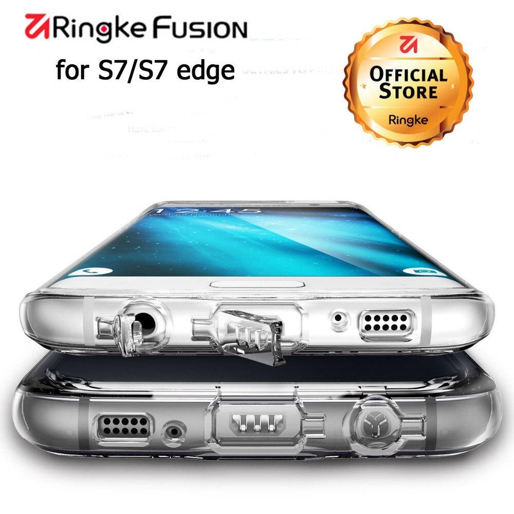 imágenes para Ringke Fusión Para Samsung Galaxy S7 borde Caso de Tpu Flexible y claro Caso de silicona Duro Híbrido Casos para Galaxy S7