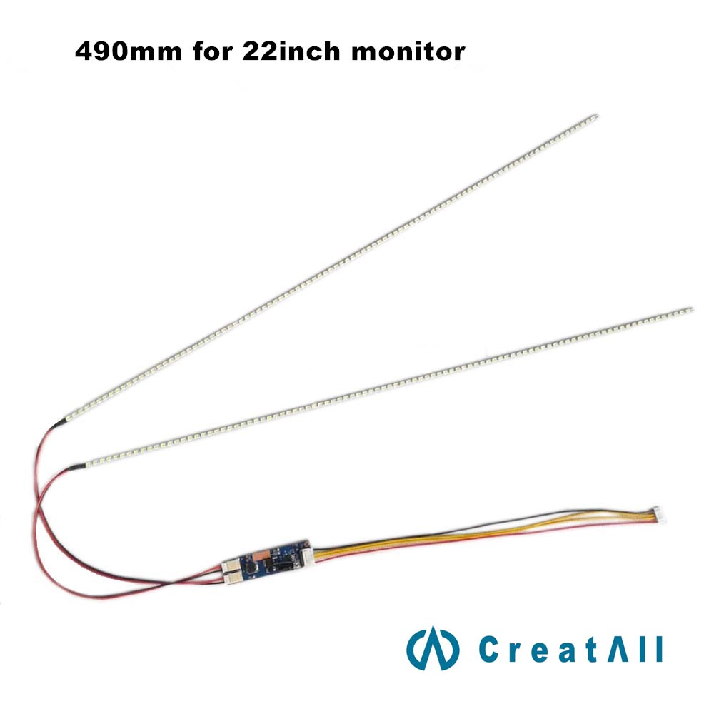 Universal LED Backlight Lamps Update Kit For LCD Monitor 2 LED Strips Support To 22'' Wide 490mm