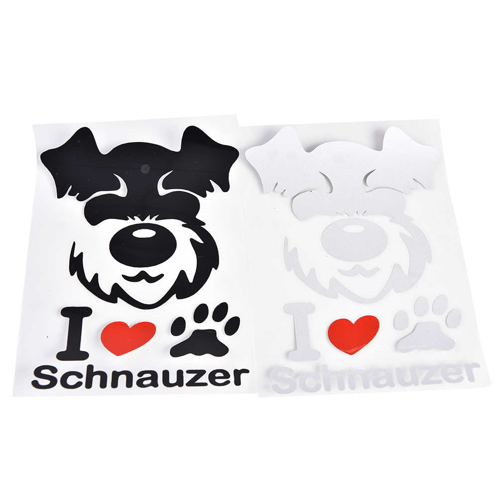 1 Pza negro blanco Color coche pegatinas Pet Schnauzer lindo Animal patrón personalizado pegatina para el estilo del coche