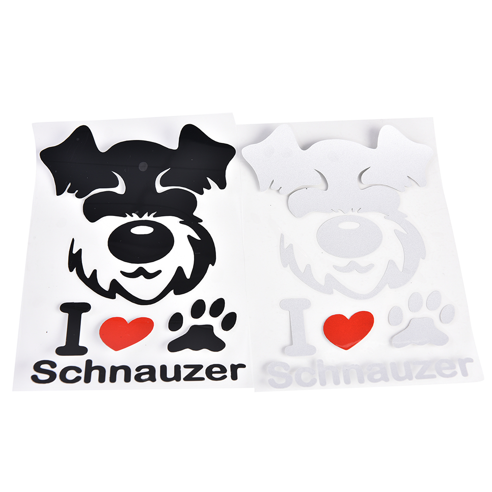 1pc black white color car stickers pet schnauzer cute animal pattern personalized sticker for car styling