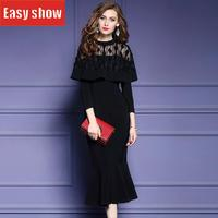 2018 Новый шаблон Черный посылка ягодицы самосовершенствование платье для девочек длинная девять часть рукава рыбий хвост платье 14201