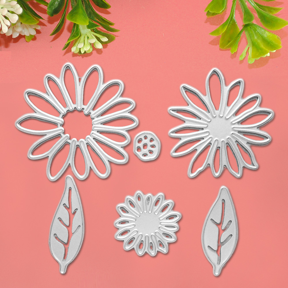 6PCS Carbon Steel Flower Leave Embossing Cutting Die Stencil Template Mould Set for DIY Scrapbooking Album Paper Card Accessor