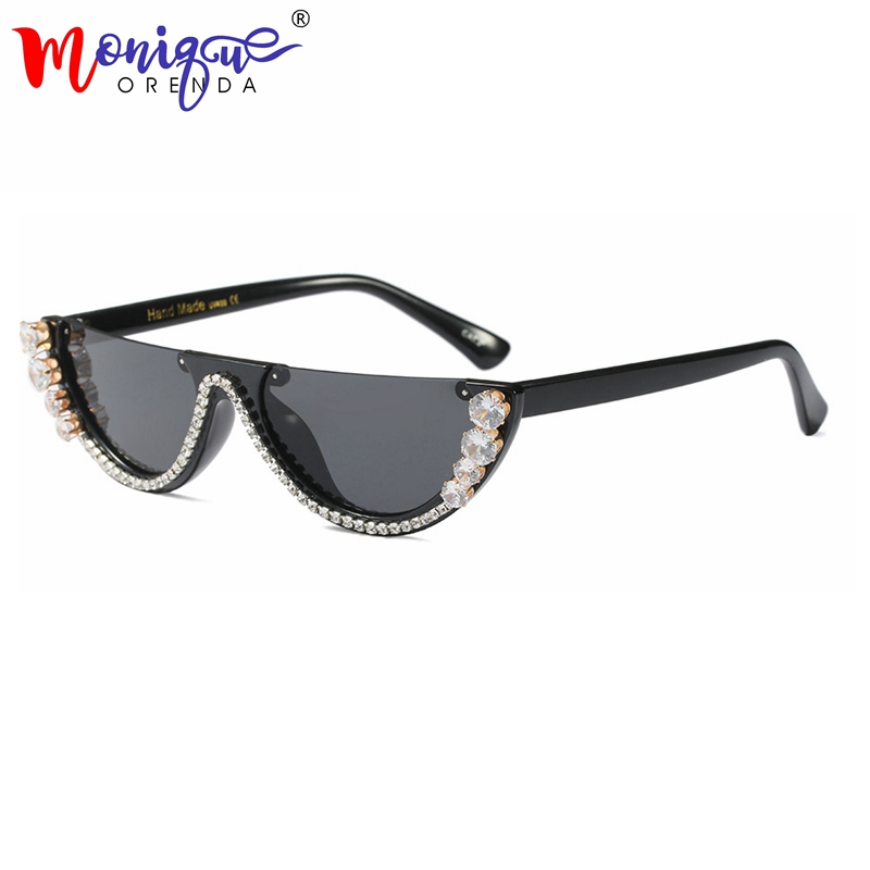 Sunglasses Women trendy half frame rimless cat eye sunglasses rhinestone women summer 2018 fashion shades women Small glasses