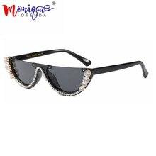 875cff896c76 Sunglasses Women trendy half frame rimless cat eye sunglasses rhinestone  women summer 2018 fashion shades women Small glasses