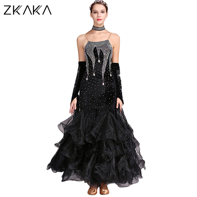 4aaca4956 ZKAKA Ballroom Dance Dress Flamenco Waltz Tango Dance Costumes for Women