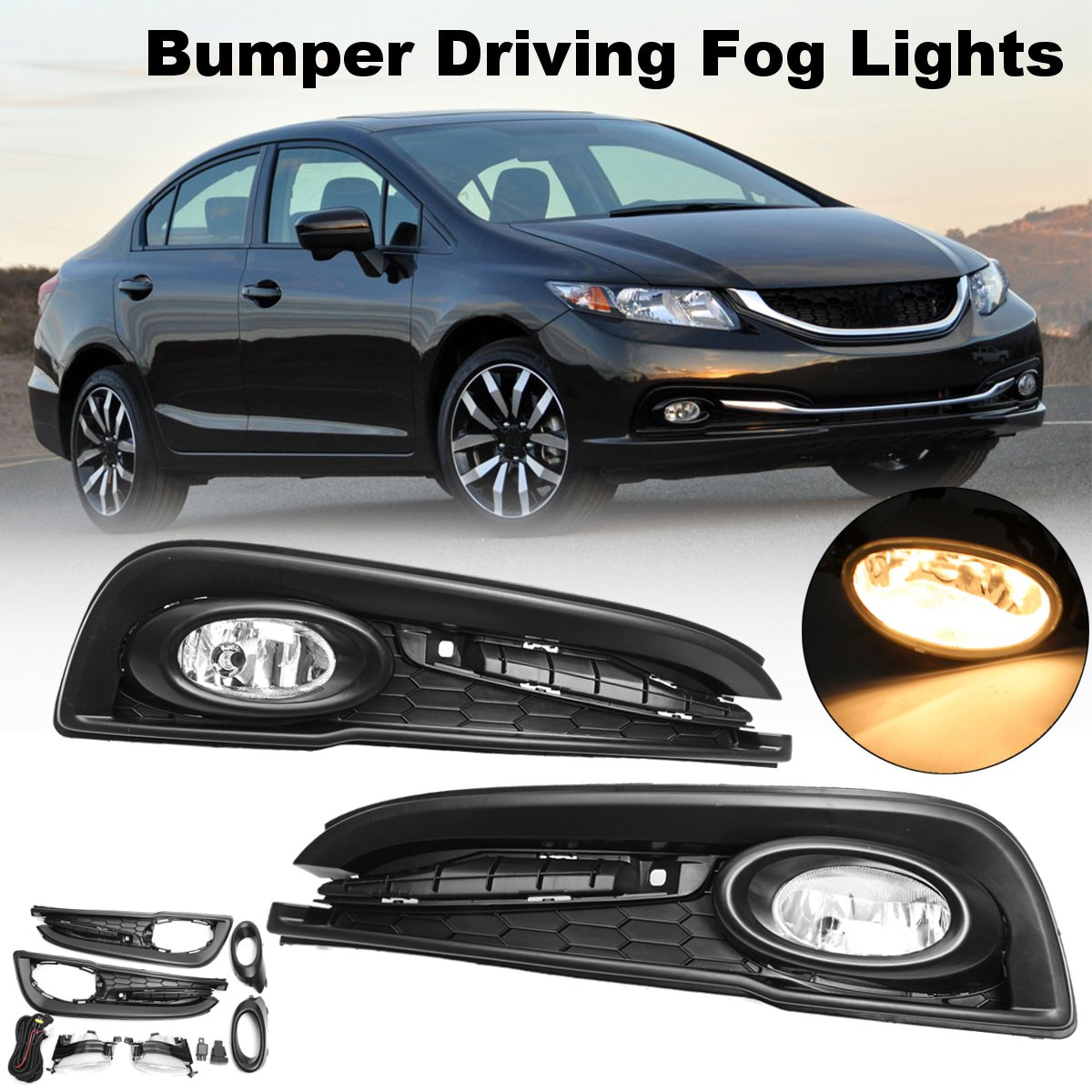 for Honda for Civic 4DR Sedan 2013~2015 1 Pair H11 55W DC 12V Clear Bumper Driving Fog Lights w/ Wiring Harness Replacements h3 55w car lamps wiring harness kit w fuse switch dc 12v
