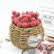 10pcs 2cm Artificial Fruit Glass Berries Stamen Mini Apple Fake Red Cherry Bouquet DIY Gift Box Scrapbook Christmas Decor