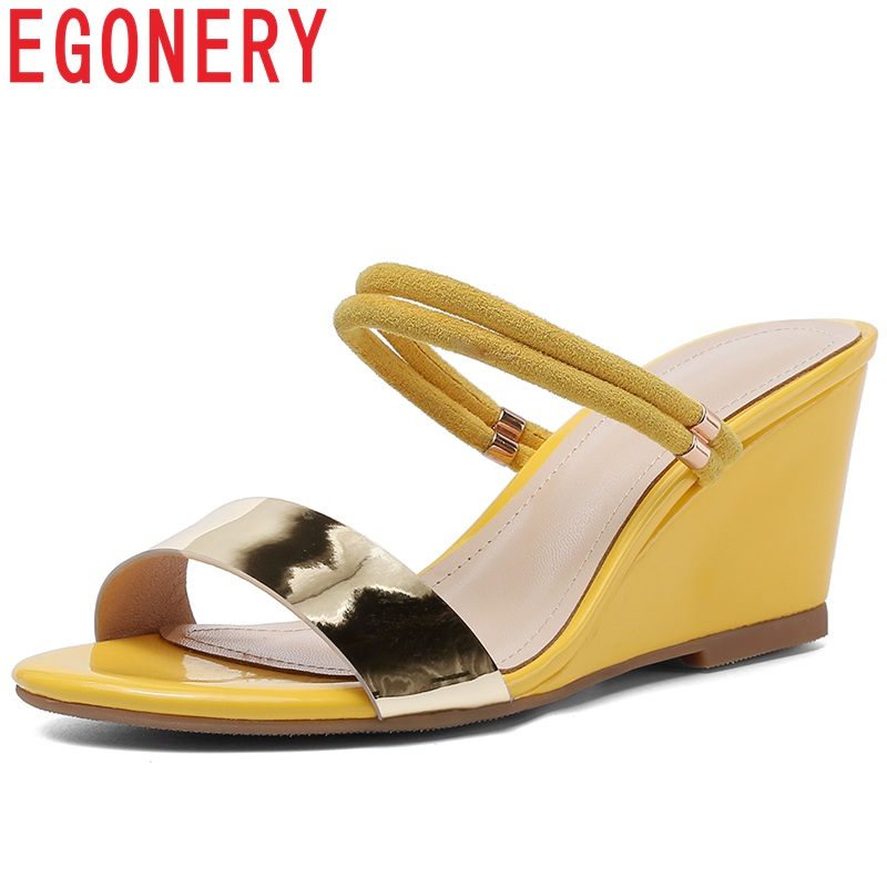 EGONERY barnd yellow genuine leather woman mules shoes sexy black beach Slides high heels wedges shoes fashion girl Slippers