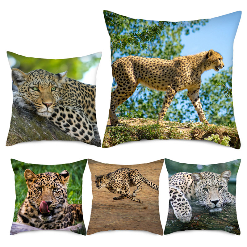 Fuwatacchi Animal Leopard Cushion Covers Cheetah Printed Pillow Cover for Home Sofa Office Chair Decor Pillowcase 2019