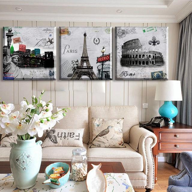 3 предмета современные стены Картина Париж Роман холсте Живопись украшение дома панно настенные панно для Гостиная Модульная картина