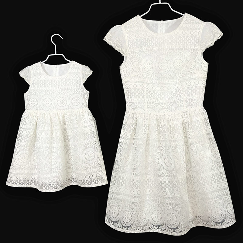 European women Summer dress fashion kids girls formal party skirt children birthday white dress mother and daughter lace dresses 2016 summer hot girls rose golden wide belt dress children floral formal dress birthday party dress red white pink 6 size
