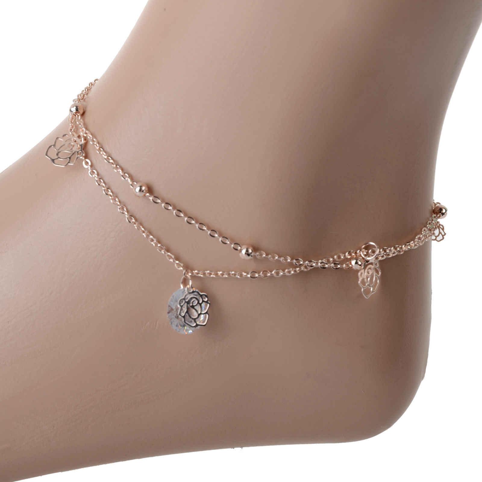 เซ็กซี่ชายหาดAnkletsจี้คริสตัลR Hinestoneกลวงออกโรสสร้อยข้อมือข้อเท้าเครื่องประดับเท้าAnkletsอุปกรณ์เท้าสำหรับผู้หญิง