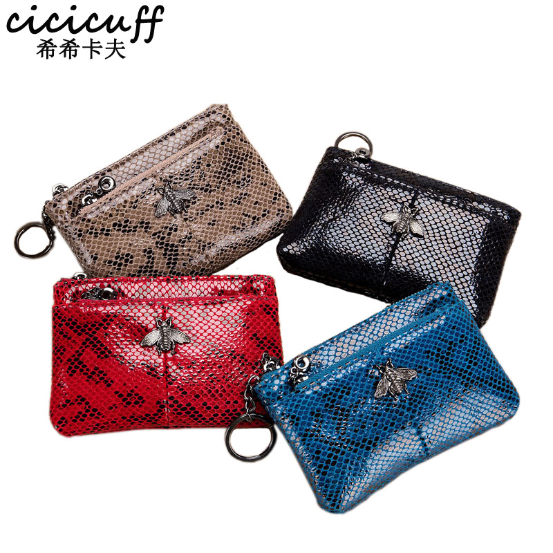 Fashion Coin Purse Ladies Real Leather Wallets Coin Pouch with Zipper Snake Pattern Women Genuine Leather Keychain Change Purse in Coin Purses from Luggage Bags