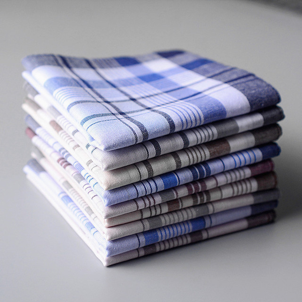 5Pcs/lot Square Plaid Stripe Handkerchiefs Men Classic Vintage Pocket Pocket Cotton Towel For Wedding Party 38*38cm Random