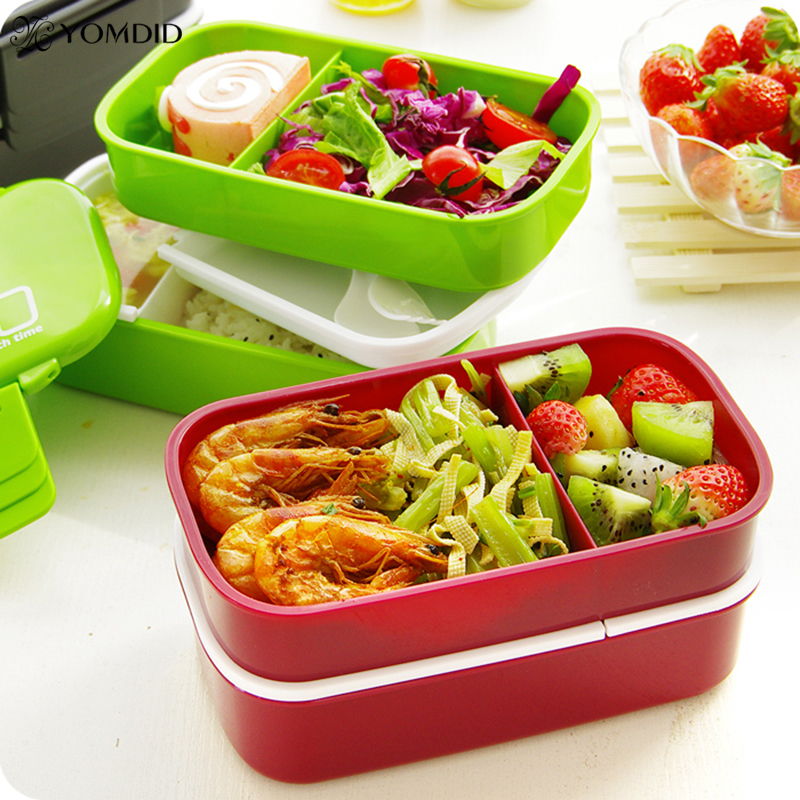 2 layer plastic lunch box tiber bento microwaveable dinnerware set large capacity meal box food. Black Bedroom Furniture Sets. Home Design Ideas
