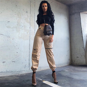 Image 5 - Waataak Elatic High Waist Harem Pants Women Cloth Chain Buckle Pantalon Khaki Pocket Long Casual korean pants Pencil Autumn 2018