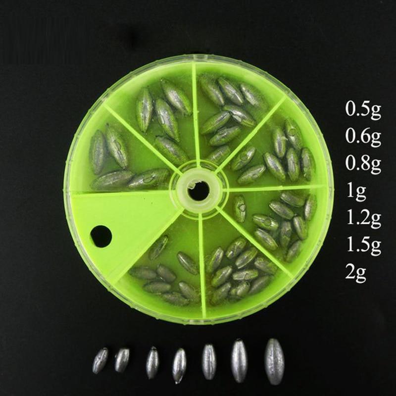 1 Box Lead Sinker Kit Weights Lead Drop  Hollow Sinker Carp Fishing Accessory  0.5g 0.6g 0.8g 1g 1.2g 1.5g  2g  FO112