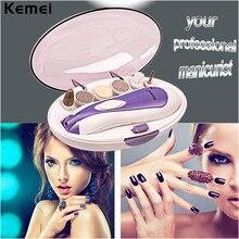 Kemei Original Pro 6 in1 Electric Nail Drill File Art Tip Manicure & Pedicure Set Grinding Head Machine Nail Grinder Polish Tool