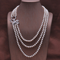 2016 New Fashion 100% Natural Freshwater Pearl Long Necklace 7-8 mm Real Pearl Length 170CM For Women Best Gifts