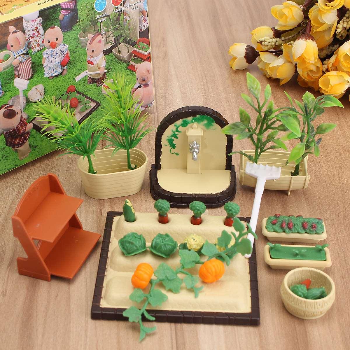 Miniature ornaments - Garden Ornaments Families Toy Miniature Furniture Vegetable Garden Set Kids Pretend Toys Girls Gifts Furniture For