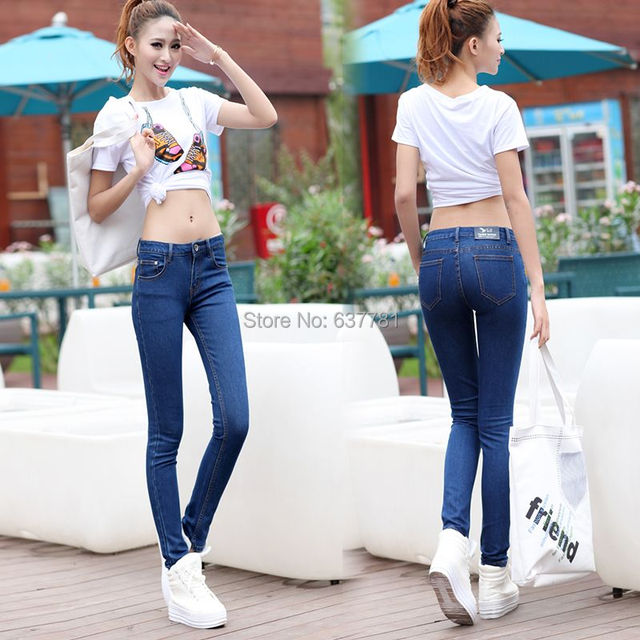 db941ae287cc Fashion Pant 2015 Spring Summer High Waist Stretch Blue Skinny Jeans Woman  Ripped Boyfriend Jeans American Apperal