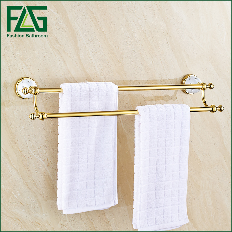 Free Shipping Double Towel Holder, Towel Rack Solid Brass & Crystal Made Golden Finish Metal Double Towel Bars free shipping brass & stone golden towel rack gold towel bar towel holder cy008s