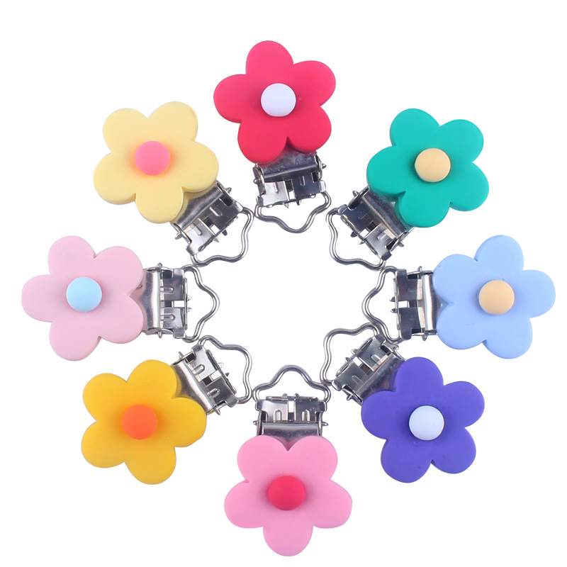 XCQGH 5PCS/10PCS Baby Pacifier Anti-drop Chain Clip Safety Buckle Plastic Clip Multi-color Flower Baby Plastic Pacifier Clip