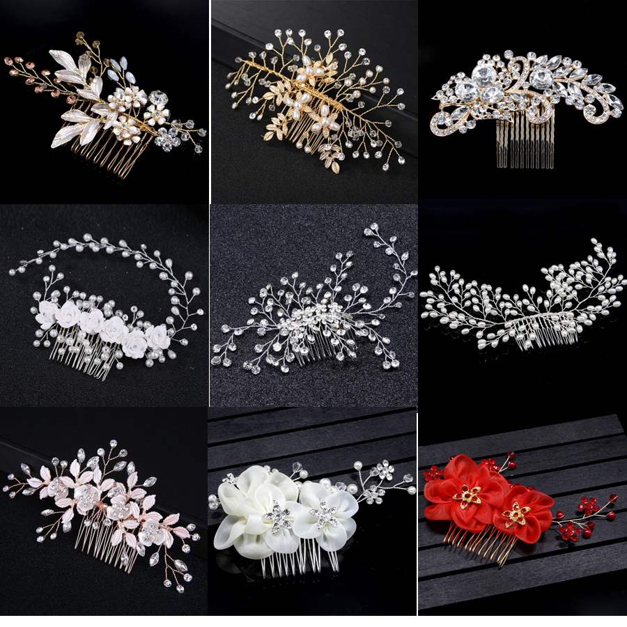 Combs Headpieces Hair-Clips-Accessories Jewelry Peals Bride Handmade Wedding Crystal