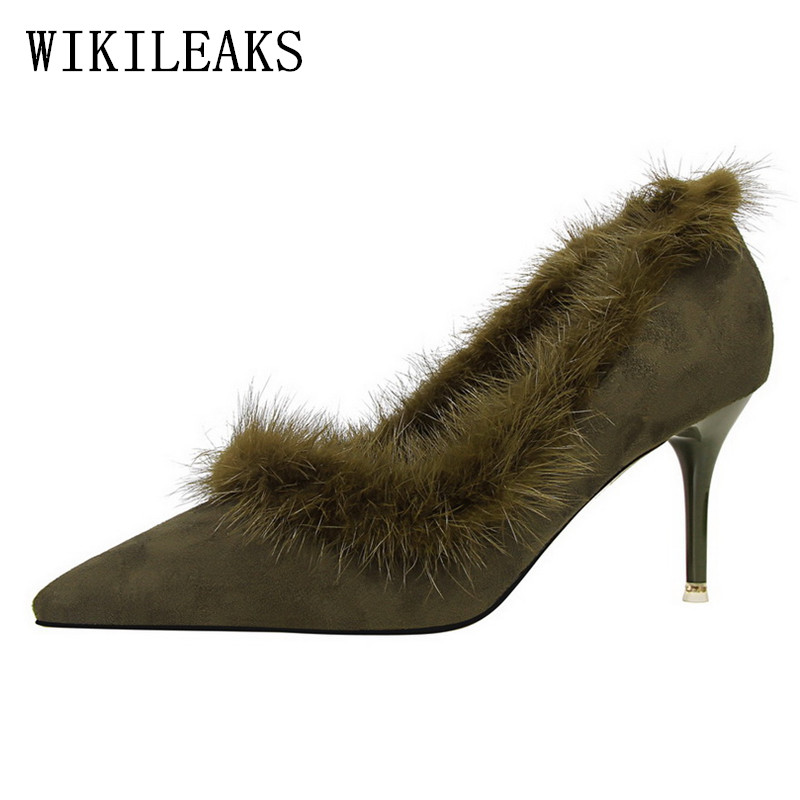winter red high heels shoes woman luxury brand suede pointed toe bigtree shoes fur sandals sexy pumps bridal wedding women shoes siketu 2017 free shipping spring and autumn women shoes fashion sex high heels shoes red wedding shoes pumps g107