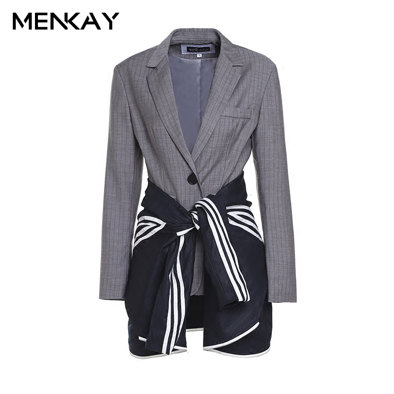 [MENKAY] 2018 Spring New Patchwork High Waist Lace Up Long Sleeve Notched Striped Blazer Women Tide Laides Fashion