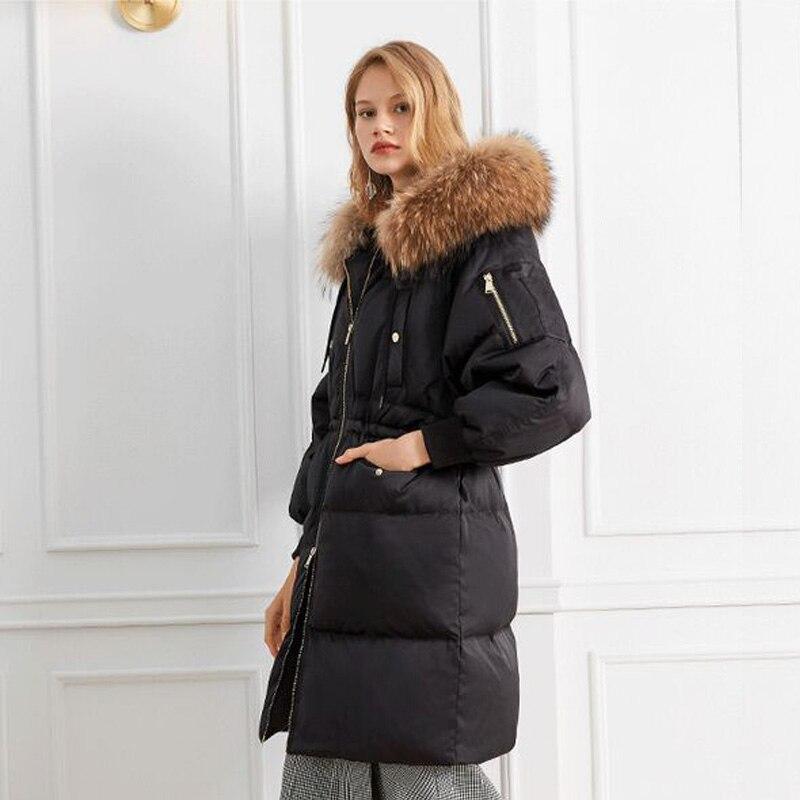 Vers Veste De 2018 Femmes Réel Noir D'hiver Laveur Neige Épais Parka Femme Manteau Chaud Blanc Fourrure Le Canard Naturel Bas Raton wnqxa4x