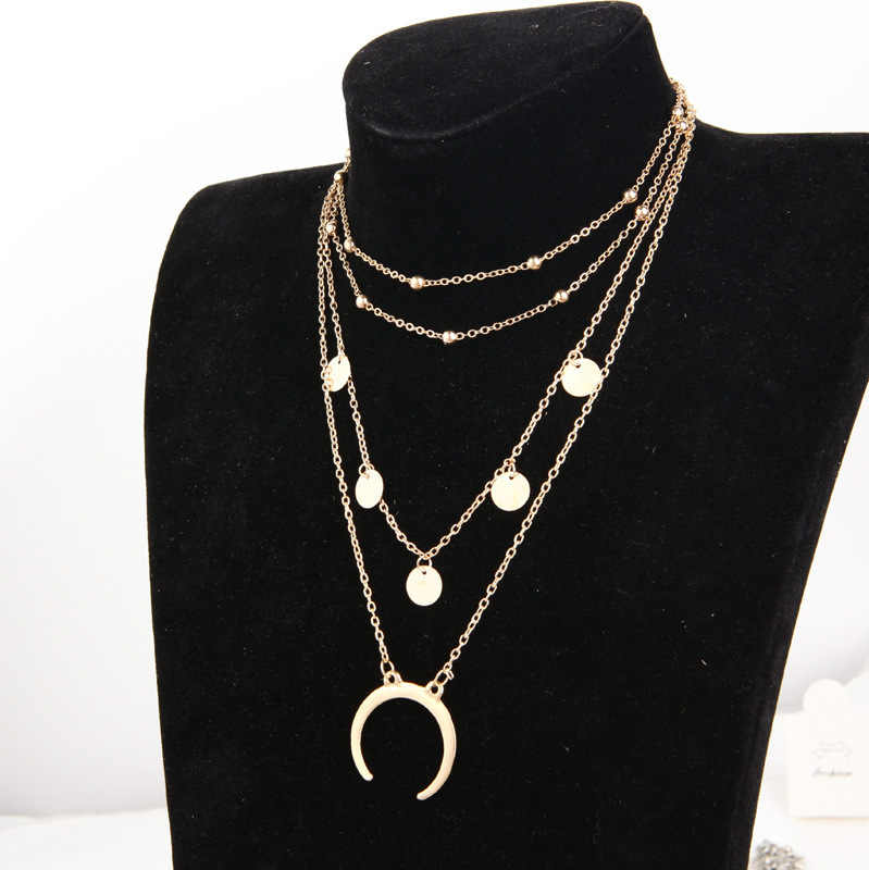 European and American jewelry necklace Steampunk choker round moon pendant multi - layer ball necklace Statement Necklace