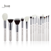 Jessup Pearl White Silver Professional Makeup Brushes Set Make Up Brush Tools Kit Foundation Stippling Natural
