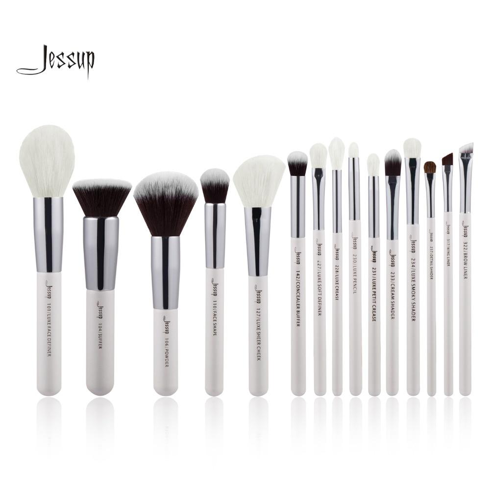 Jessup Pearl White/Silver Professional Makeup Brushes Set Make up Brush Tools kit Foundation Stippling natural-synthetic hair 10pcs white professional makeup brush set