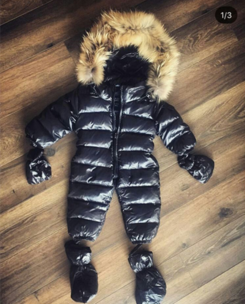 Newborn Winter Romper Baby Snowsuit Infant Overcoat Kids Snow Wear Jumpsuit Duck Down Coatton Liner Child New Year Costumes puseky 2017 infant romper baby boys girls jumpsuit newborn bebe clothing hooded toddler baby clothes cute panda romper costumes