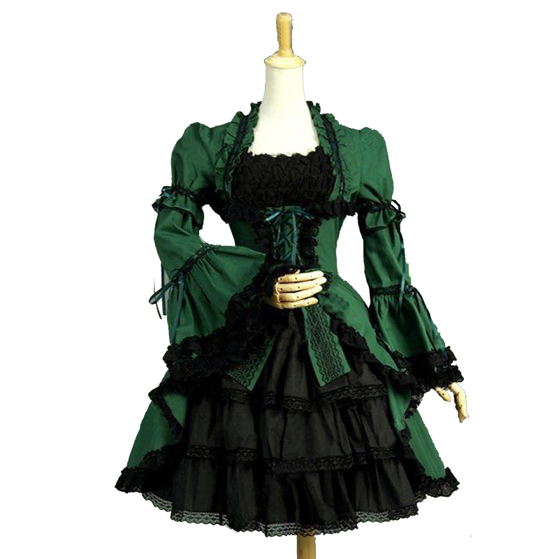 Customized Gothic Victorian Lolita Knee Length Dresses With Removable Halloween Green and Black Cotton Dress Theater