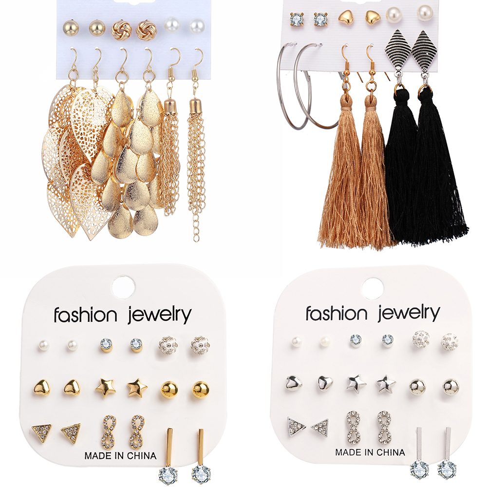 4 Pairs//Set Bohemian Women Gold Alloy Long Irregular Geometric Ear Stud Earrings