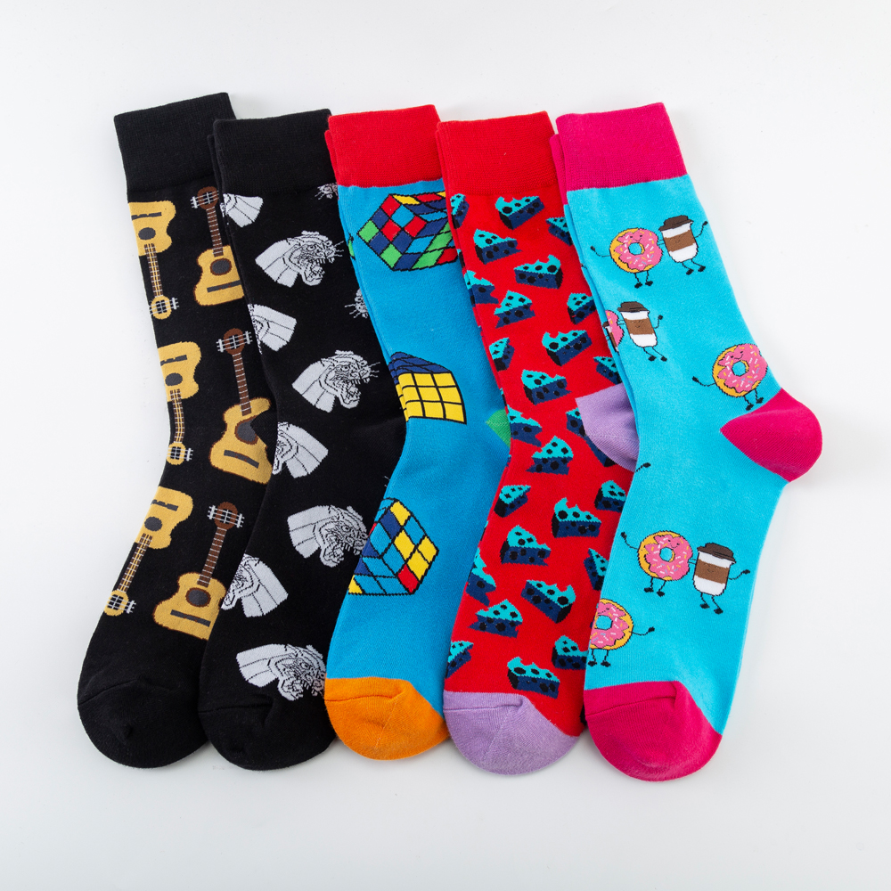 Fashion Cheese Guitar Magic Cube Pattern Novelty Crew Wedding Socks Men's Funny Creative Casual Cotton Colorful Socks For Male