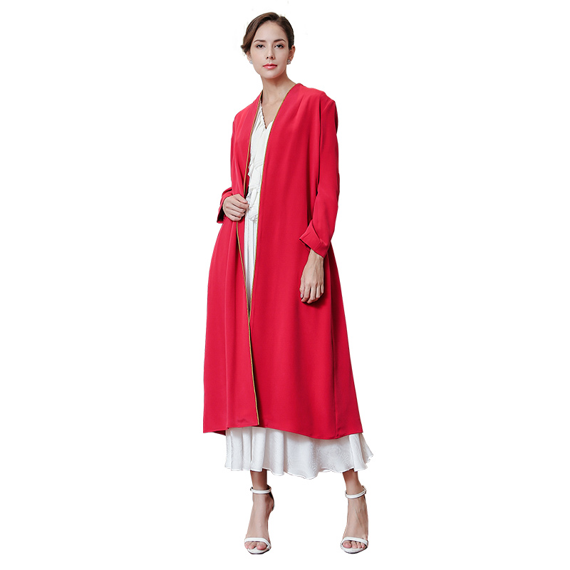 VOA 2018 Fall Fashion Chinese Red Plus Size Brief Solid Casual Trench Coat Heavy Silk Women Maxi Long Cardigan Coat FLA00201