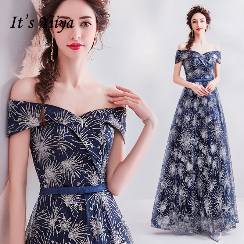 It's YiiYa   Prom   Gowns Deep Blue Boat Neck Bling A-line Floor-length Lace up Back Custom Plus size   Prom     Dress   E220
