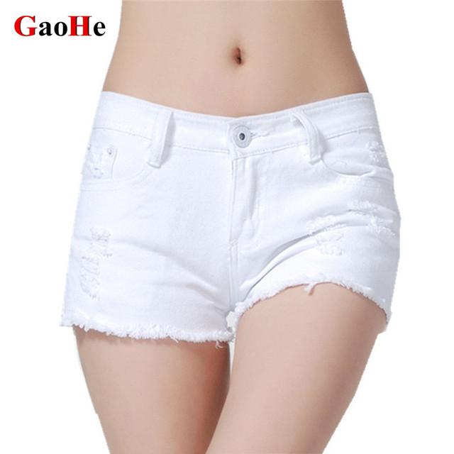 Moda Baixo Wasit Sexy Holes Ripped Jeans de Lavagem Magro Quadril Shorts Jeans Mulheres Verão Preto Cor Branca Calças Curtas Calças