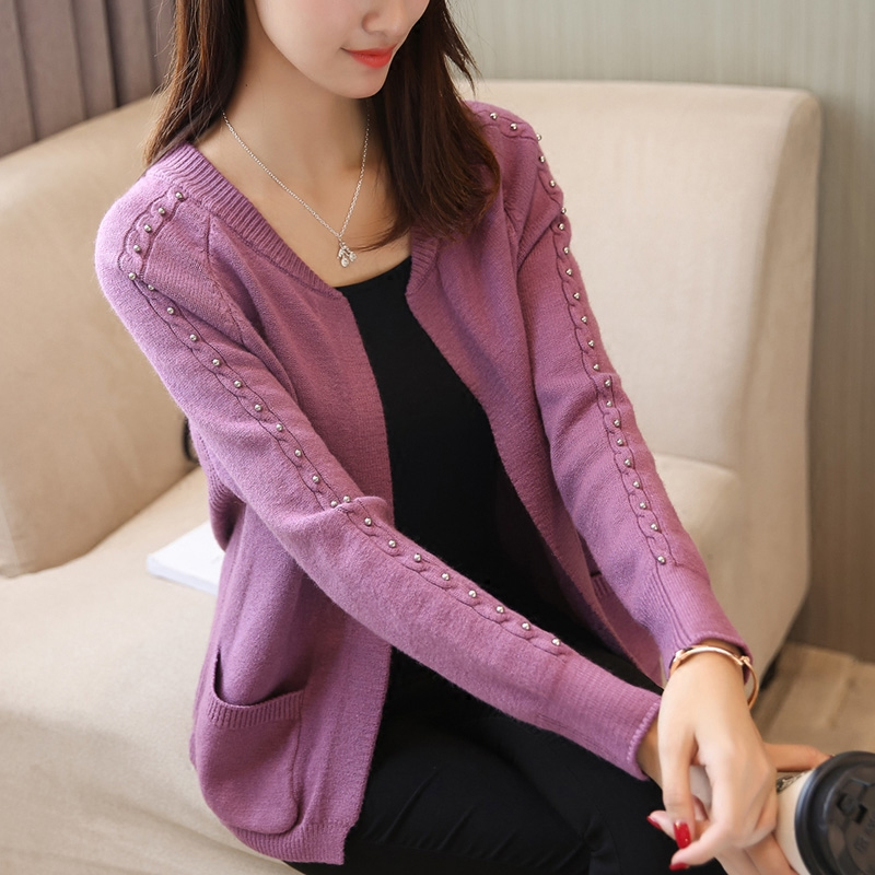 sweater cardigan female loose knit jacket female all-match thickened short Korean 2017 new spring outside the ride