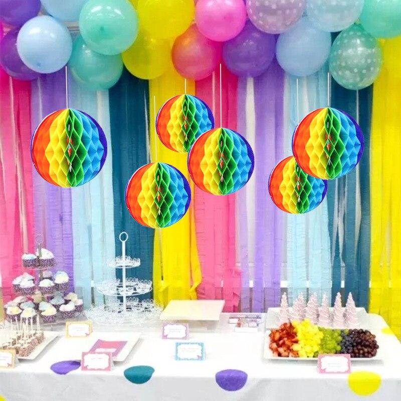 Визуальный Touch 15/20/30 см Радуга сота Бумага бальное платье с цветочным рисунком гирлянда на день рождения, свадьбу, для отдыха и вечеринок Поставки Свадебные украшения