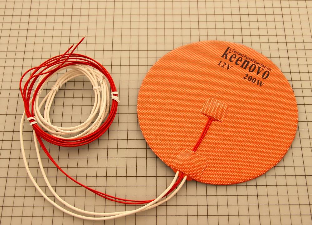 Delta 3D Printer Heated Bed Dia 170mm 200W 12V 24V 120V 220V Keenovo Circular Round Silicone Heater Pad