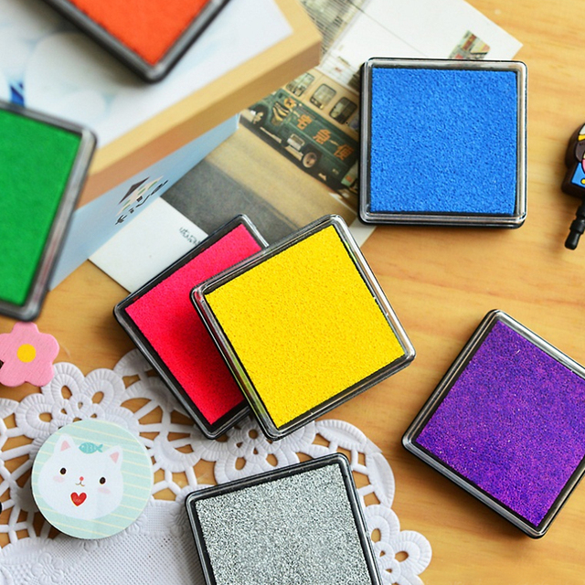 Colorful Ink Pad Fingerprint Stamp And Craft Oil For School Office Home Use