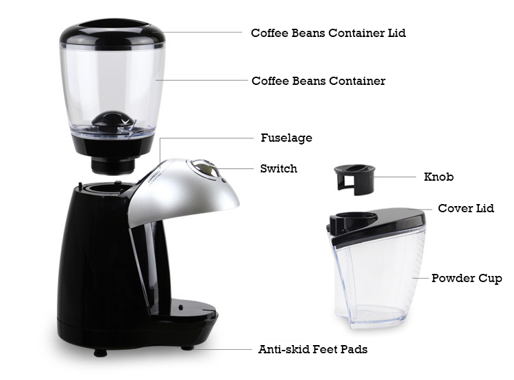Image 2 - JIQI Electric Coffee Burr Grinders Italian Cafe Coffee Bean Grinding Machine Fine Miller Stainless Steel Blade 110V 220V EU US-in Electric Coffee Grinders from Home Appliances